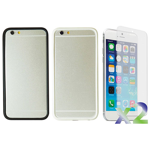 Exian iPhone 6 Plus Fitted Soft Shell Case - 2 Pack - Black/White