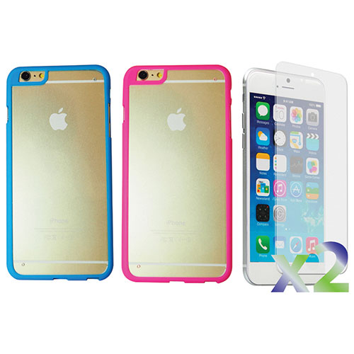 Exian iPhone 6 Plus Fitted Hard Shell Case - 2 Pack - Blue/Pink