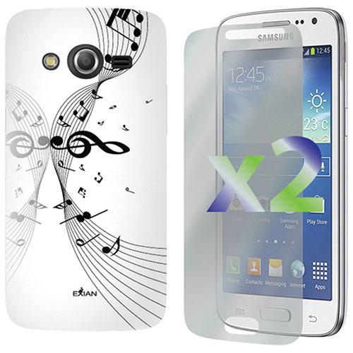Étui souple ajusté Music d'Exian pour Galaxy Core LTE - Blanc