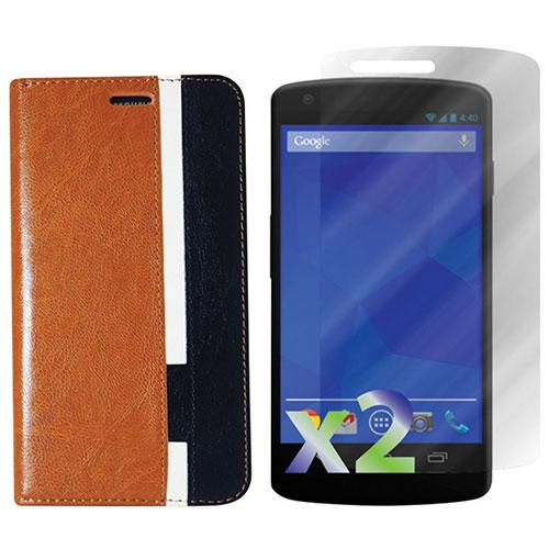 Exian Nexus 5 Case With Screen Protector - Brown