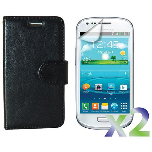 Étui portefeuille d'Exian pour Galaxy S III Mini avec protection d'écran - Noir