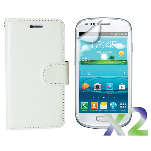 Exian Galaxy S III mini Wallet Case With Screen Protector - White
