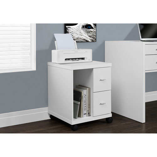 Meuble pour imprimante 2 tiroirs de monarch blanc for Meuble bureau pour imprimante