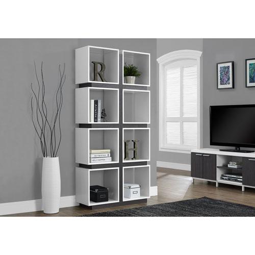 Monarch Art Deco 8 Shelf Bookcase White Grey Bookcases