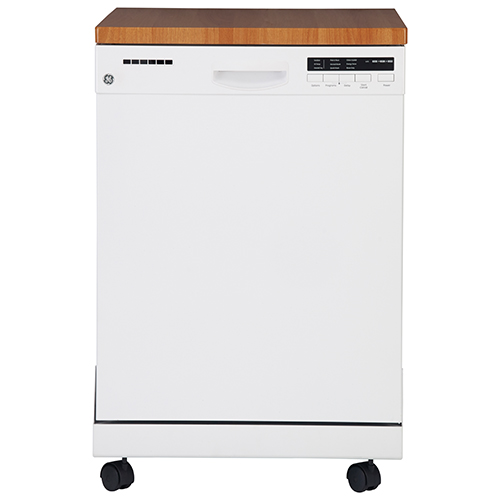 "GE 24"" 57 dB Portable Dishwasher with Stainless Steel Tub (GPF400SGFWW) - White"