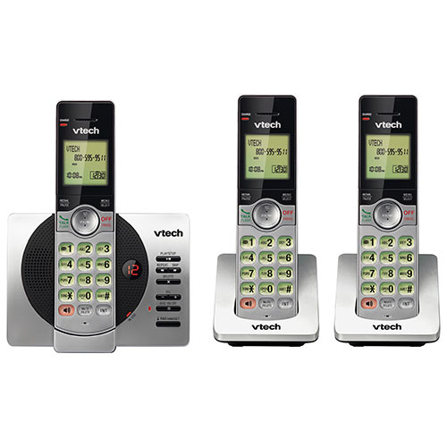 Téléphone sans fil DECT à 3 combinés de VTech avec répondeur et afficheur (CS6929-3) - Argenté