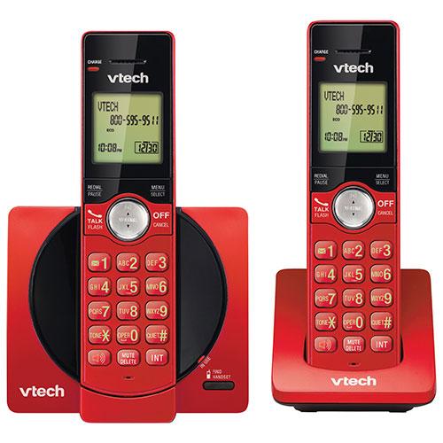 Téléphone sans fil DECT à 2 combinés de VTech avec afficheur (CS6919-26) - Rouge