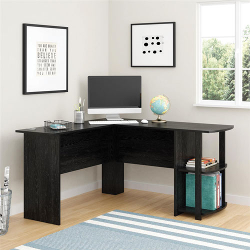 Transitional L Shaped/Corner Desk   Black Ebony Ash