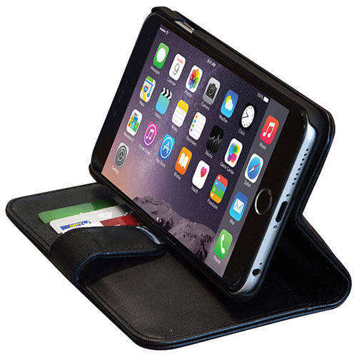 Étui folio portefeuille en cuir de GelGrip pour iPhone 6/6s Plus - Noir