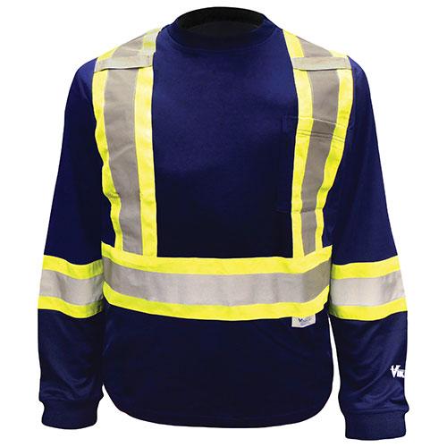 Chandail de sécurité à manches longues pour hommes en coton/poly Viking (6015N-M)-Moyen-Bleu marine