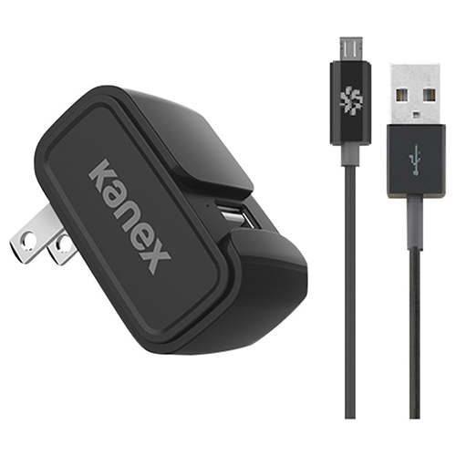 Kanex 1.22 m (4 ft.) MiColor USB Wall Charger + micro USB Cable (KWCU24V2BKKTMU1) - Black