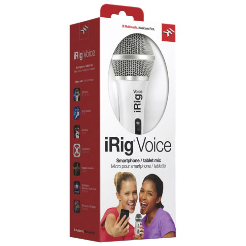 Microphone vocal iRig d'IK Multimedia pour iPhone/iPod touch/iPad (IRIGMICVOWIN) - Blanc