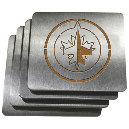Ensemble de 4 sous-verres en acier inoxydable de Sportula - Jets de Winnipeg