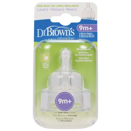 Dr Browns Natural Flow Level 4 Wide Neck Replacement Nipple 2 Pack Clear
