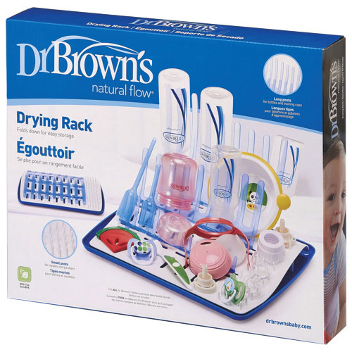 Dr. Brown's Natural Flow Folding Drying Rack - White/Blue