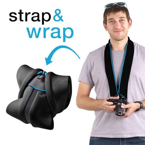 miggo Strap & Wrap Neoprene/Lycra 2-in-1 Mirrorless Camera Strap/Case (MM20063) - Black/Blue