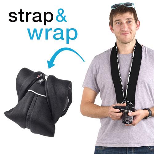 Étui/dragonne 2-en-1 Strap & Wrap de miggo pour appareil photo sans miroir (MM20223) - Noir-blanc