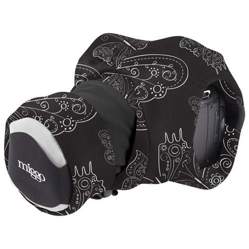 miggo Grip & Wrap Royal Wings Neoprene/Lycra 2-in-1 DSLR Camera Strap/Case (MM20155) - Black/White