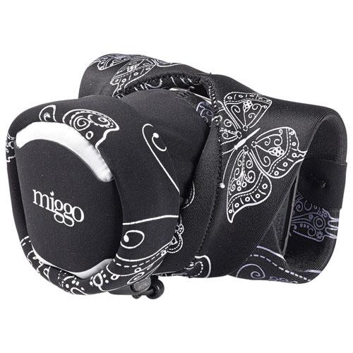 Étui/dragonne 2-en-1 Grip & Wrap de miggo pour appareil photo sans miroir (MM20162) - Noir-blanc