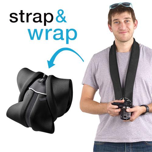 Étui/dragonne 2-en-1 Strap & Wrap de miggo pour appareil photo sans miroir (MM20025) - Noir