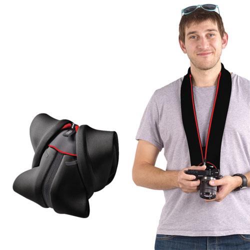 Étui/dragonne 2-en-1 Strap & Wrap de miggo pour appareil photo sans miroir (MM20100) - Noir-rouge