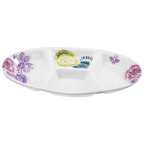 Plat de service ovale à compartiments de la collection Bora Bora de Living Art