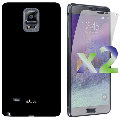 Exian Galaxy Note 4 Case With Screen Protectors - Black