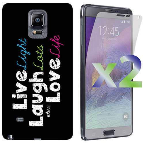 Exian Galaxy Note 4 Live/Laugh/Love Case With Screen Protectors - Black