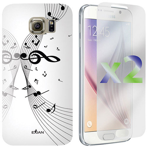 Exian Galaxy S6 Musical Notes Case With Screen Protectors - White