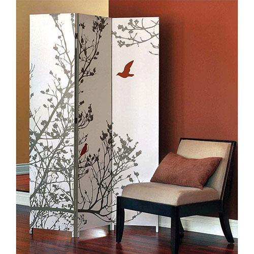 Paravent à 3 panneaux avec motif d'oiseaux Bota - Rouge - Taupe
