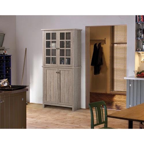 Homestar 4 Door Reclaimed Wood Cabinet   Grey   Online Only