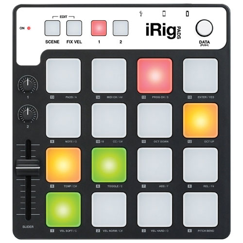 Contrôleur tactile MIDI portatif iRig Pads d'IK Multimedia (IPIRIGPADSIN) - Noir