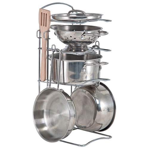 Melissa Doug Stainless Steel Pots Pans Play Set Play Kitchens
