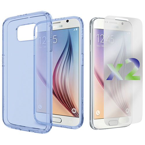 Exian Galaxy S6 Fitted Soft Shell Case - Transparent Blue
