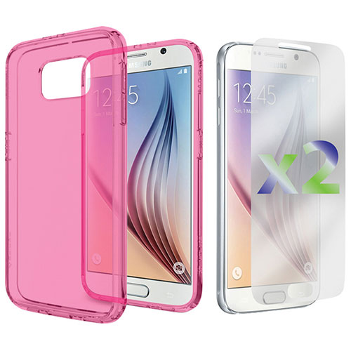 Exian Galaxy S6 Fitted Soft Shell Case - Transparent Pink