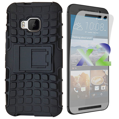 Exian Armour Stand HTC One M9 Fitted Soft Shell Case - Black