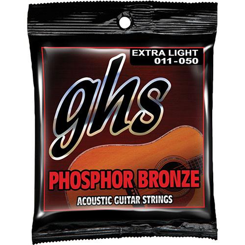 Cordes de guitare acoustique très petit calibre 0,011 à 0,05 Phosphor Bronze de GHS (S315) - Bronze