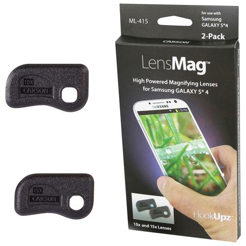 Loupe aimantée LensMag de Carson pour Galaxy S4 (ML-415) - Paquet de 2 - Noir - Anglais
