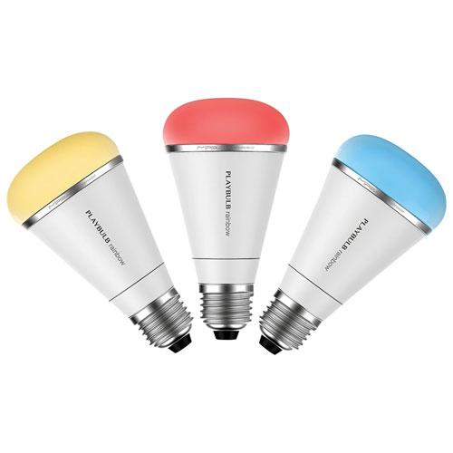 Ampoule DEL intelligente PLAYBULB rainbow A19 de MIPOW (BTL200-3) - Paquet de 3 - Multicolore