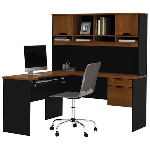 Innova corner desk with hutch tuscany brown black desks workstations best buy canada - Corner desks canada ...