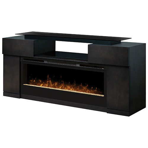 "Dimplex Concord Fireplace TV Stand for TVs Up To 60"" (GDS50-1243SC) - Grey : The Concord fireplace TV stand from Dimplex is sure to make an eye-catching statement in your home. The captivating firebox uses patented flame technology to create the illusion"