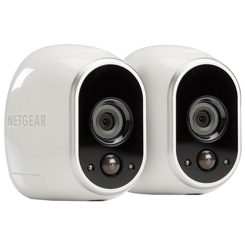 netgear arlo wireless indoor outdoor security system with 2 720p cameras white ip cameras. Black Bedroom Furniture Sets. Home Design Ideas