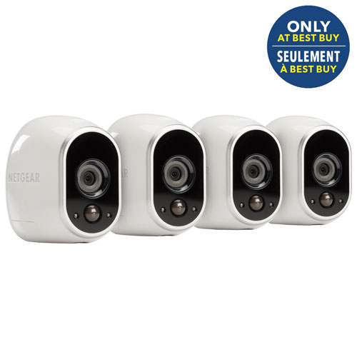 Netgear arlo wireless indooroutdoor security system with 4 720p netgear arlo wireless indooroutdoor security system with 4 720p cameras white only solutioingenieria Choice Image