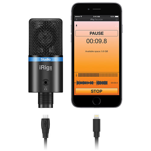 IK Multimedia iRig Mic Studio Smartphone/Tablet Digital Condenser Microphone (IP-IRIG-MICSTDBLA-IN)