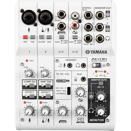 Yamaha 6-Channel Mixer with USB Audio Interface (AG06)
