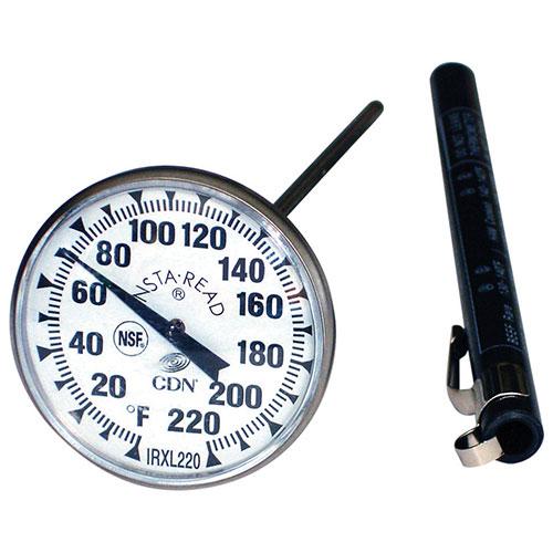 Gros thermomètre rond ProAccurate INSTA-READ de CDN pour le four - Acier inoxydable-noir