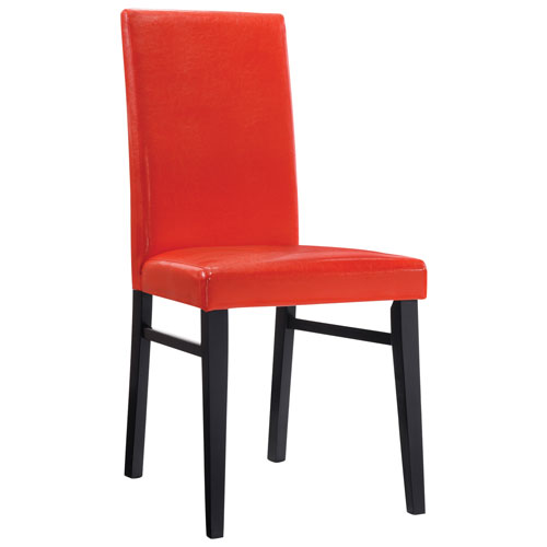 1. Oakley Transitional Faux Leather Dining Chair   Set of 2   Red
