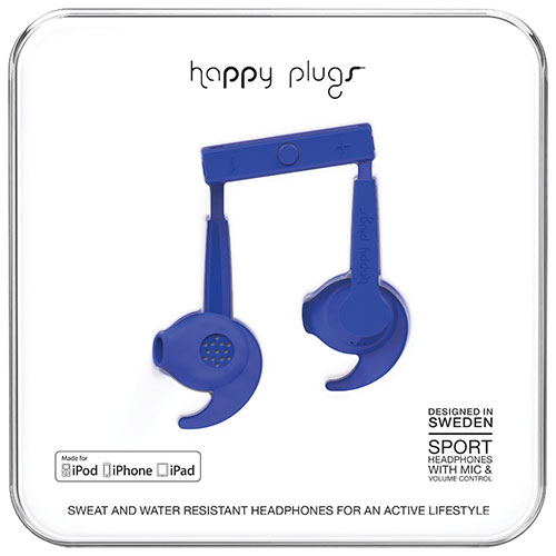 Happy Plugs Sport In-Ear Sound Isolating Headphones - Cobalt Blue