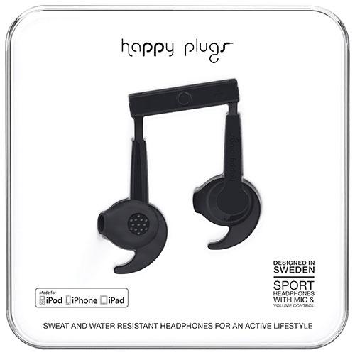 Écouteurs bouton de sport à isolation sonore de Happy Plugs - Noir