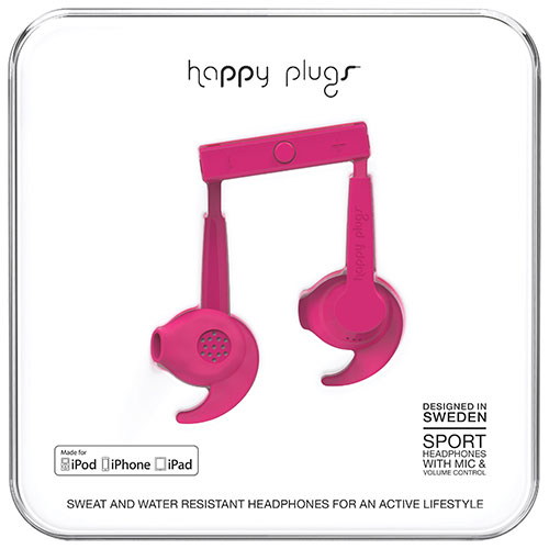 Happy Plugs Sport In-Ear Sound Isolating Headphones - Cerise